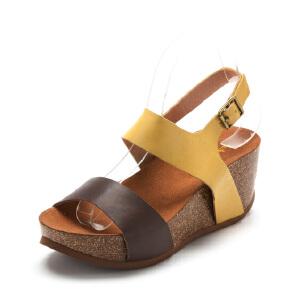【3折到手价101.7元】Safiya/索菲娅 夏款牛皮高跟松糕底色拼接搭扣女凉鞋SF52115049