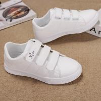 大童运动鞋女童休闲鞋魔术贴中小学生小白鞋12-13-16岁板鞋无鞋带