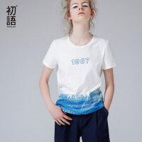 初语夏季新品 清新印花数字圆领短袖T恤女文艺休闲上衣