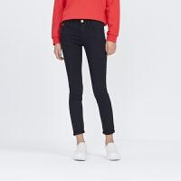 美特斯邦威女牛仔裤夏装女高腰基本款紧身牛仔长裤246705