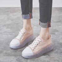 帆布鞋女厚底2019夏季新款韩版百搭增高潮流低帮薄款透气松糕鞋子夏季百搭鞋