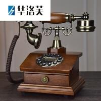 家里的装饰品欧式仿古实木电话机复古时尚创意美式家用电话时尚古典座机J