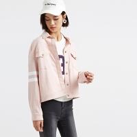美特斯邦威女夹克2016春装女印条纹袖后背印字茄克245561