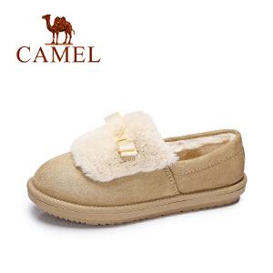 camel骆驼女鞋 2017冬季新款 甜美舒适单鞋 保暖低帮棉鞋防滑毛毛鞋女