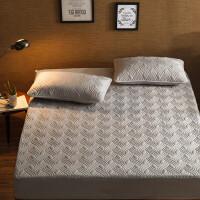 棉防滑床笠单件加厚夹棉床罩纯棉席梦思床垫保护套1.8m1.5米 灰色 水纹灰