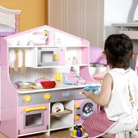 �和�生日�Y物�^家家做�男女孩木制�N房玩具套�b木� ����仿真�N具