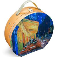 玩拼图赏名画:多彩梵高之三种儿童男女孩益智玩具创意礼物世界名画礼盒装《鸢尾花》24片48片在杜芳的露天咖啡屋80片