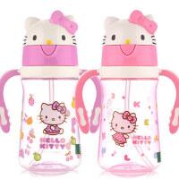 凯蒂猫 宝宝吸管杯儿童学饮杯KT婴儿水杯防漏训练杯女童带手柄水杯