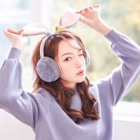冬季保暖耳罩女士可爱兔耳朵加绒防风可折叠耳包韩版护耳毛绒耳暖