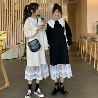 配大衣的长裙子秋冬2018新款韩版过膝中长款蕾丝连衣裙女长裙