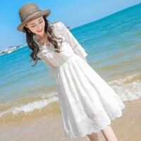舒适好看!时尚新品【两件套再送】度假沙滩裙女夏季2019新款雪纺连衣裙海边裙青春靓丽 白色