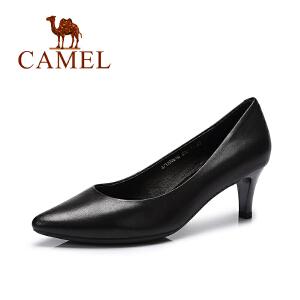 Camel/骆驼女鞋  春季新款 时尚韩版纯色尖头单鞋 细跟高跟鞋