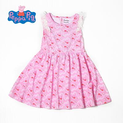 【满200减100】小猪佩奇正版童装女童夏装时尚满印小猪纯棉连衣裙公主裙