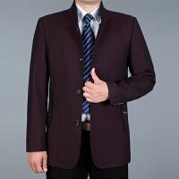 中老年男装夹克2018新款爸爸装秋冬装中年男士外套40岁50茄克上衣 酒红色 1627