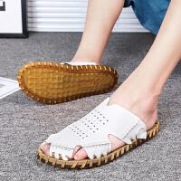 货到付款 夏季男士真皮运动休闲男凉鞋户外包头拖鞋男沙滩鞋韩版手工鞋子男