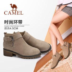 camel/骆驼女鞋 2017秋冬新款 时尚英伦皮带扣饰靴子 舒适方跟防滑短靴