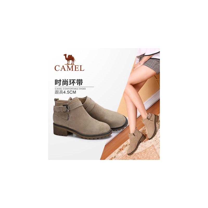 【领卷下单立减120元】camel/骆驼女鞋  秋冬新款 时尚英伦皮带扣饰靴子 舒适方跟防滑短靴