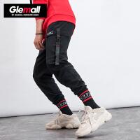 【249元2件】森马旗下潮牌GLEMALL 休闲裤男个性不对称大口袋撞色时尚休闲实用工装裤