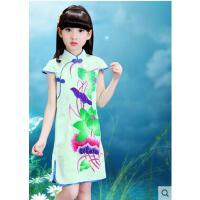 儿童旗袍新款女童古筝演出服装小女孩复古唐装女大童儿童服装支持礼品卡支付