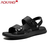奥康19年男鞋夏季新款潮流休闲凉鞋真皮沙滩鞋潮流清凉男软底拖鞋两用