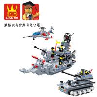 万格正品儿童拼插积木塑料玩具军事战舰坦克飞机 040342