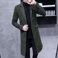 风衣男韩版中长款毛呢大衣男士过膝呢子外套潮流妮子冬装2018新款