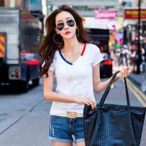 2017夏季新款女装上衣t恤韩版修身纯棉短袖T恤女小衫打底潮ZY3855