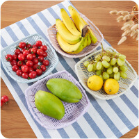 创意镂空水果篮客厅塑料零食盘厨房简约蔬菜方形沥水篮