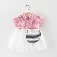 女宝宝连衣裙2018夏季婴儿童装0-1-2岁3女童夏装儿童短袖公主裙子 粉红色 短袖条纹猫裙