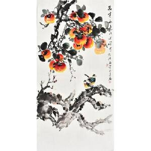 当代实力派画家周丹青三尺整张花鸟画gh03284