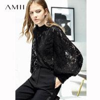 【到手价:170元】Amii极简韩范心机设计感衬衫女超仙2019秋蕾丝灯笼袖领带衬衣上衣