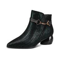 RD短靴女冬粗跟加绒新款棉靴中跟马丁靴百搭鞋子春秋单鞋女