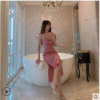 法式性感气质十二星座礼服鱼尾裙女中长款包臀显瘦粉色吊带连衣裙