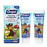 保税区发货 Orajel欧乐 狗狗特战队无氟可吞咽牙膏 水果味 42.5g*2件 海外购