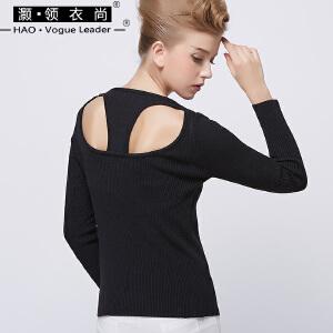 毛衣女套头加厚冬天保暖短款长袖上衣时尚个性露背圆领修身针织衫