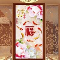 新款客厅玄关砖石秀竖版钻石画家和花开富贵九鱼图点钻满钻十字绣