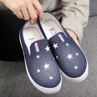 鞋子春季新款女鞋浅口鞋女平底帆布鞋懒人休闲鞋老北京布单鞋 深色 A25