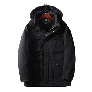 中长款棉服男 冬装加厚大码棉袄外套 男装多口袋水洗工装保暖棉衣