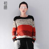 初语文艺新款女装学生套头条纹打底针织衫宽松女8530423908