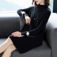 中长款毛衣女2018新款韩版宽松高领套头长袖打底衫秋冬长款毛衣裙
