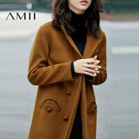 AMII[极简主义]100 羊毛双面呢外套冬大衣长款女装11694676