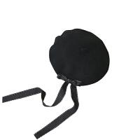 原宿秋冬天百搭蝴蝶结羊毛画家帽蓓蕾贝雷帽子韩版潮女黑色烧饼帽 M(56-58cm)