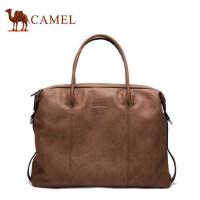 Camel骆驼男士 手提包休闲复古男包横款牛皮软包包单肩斜挎包