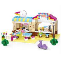 小鲁班积木玩具拼装模型6岁以上女孩拼插玩具露天餐厅