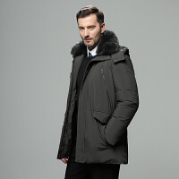 吉普盾中长款羽绒服秋冬可脱卸獭兔毛领羽绒外套男士中老年加厚保暖白鸭绒大衣