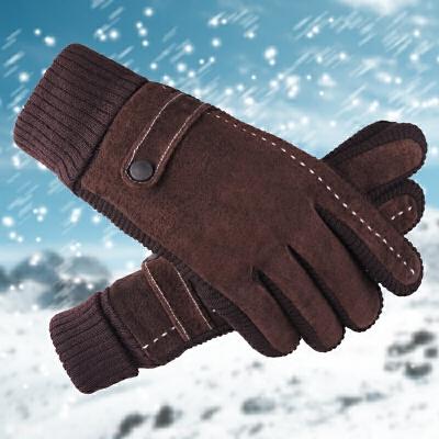 加绒皮手套 男冬加厚防寒保暖男士棉手套 冬季骑行真皮手套触屏手套 真皮面料 加长针织螺口 可触屏