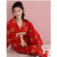 春秋纯棉女长袖新婚红色可爱结婚日系男家居服套装情侣睡衣