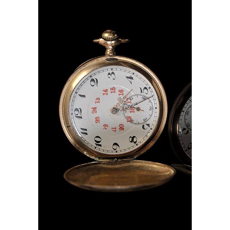 20世纪 欧洲银鎏金机械怀表 高6.4cm