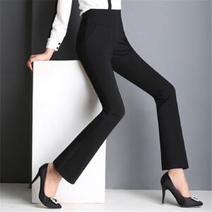 卡茗语高腰微喇打底裤女外穿夏天妈妈裤子纯棉大码中年女裤薄款喇叭长裤