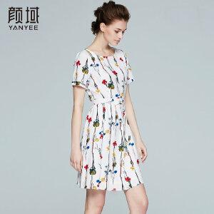颜域品牌女装2017夏季新款修身显瘦气质圆领短袖连衣裙裙子女夏